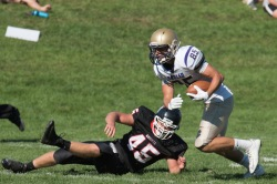 Cody Carlson leads the UMAC with 20 catches for 238 yards and a touchdown (photo by Scott Fettig)